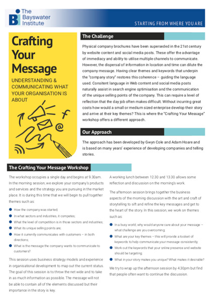 Crafting Your Message Business Workshop