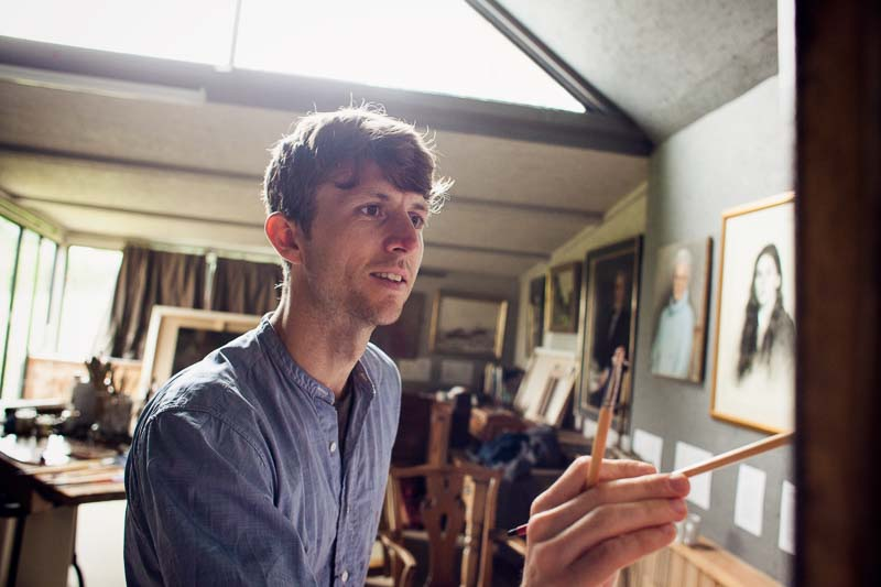 Daniel at work in his art studio